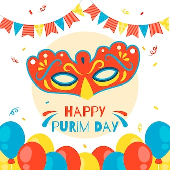 Diseño plano feliz día de purim