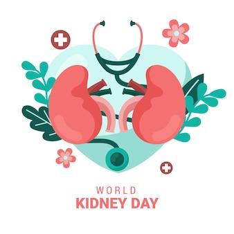 Diseño plano feliz día del riñón