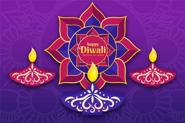 Diseño plano feliz diwali colección de velas