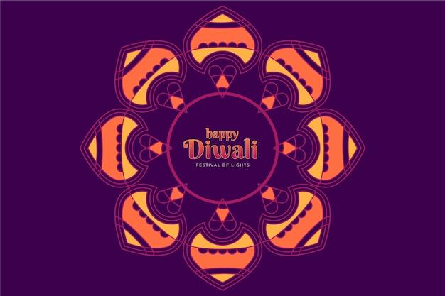 Diseño plano feliz diwali flor festiva en tonos morados