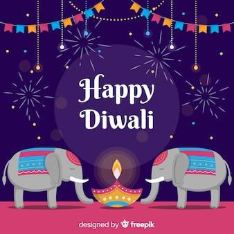 Diseño plano feliz diwali fondo