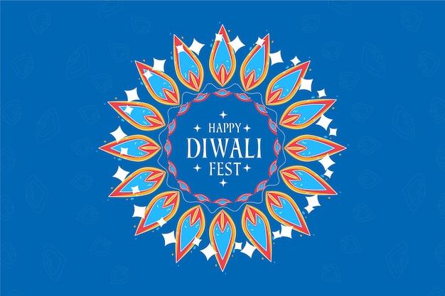 Diseño plano feliz diwali hojas festivas en tonos azules