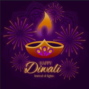 Diseño plano feliz diwali vela y fuegos artificiales.