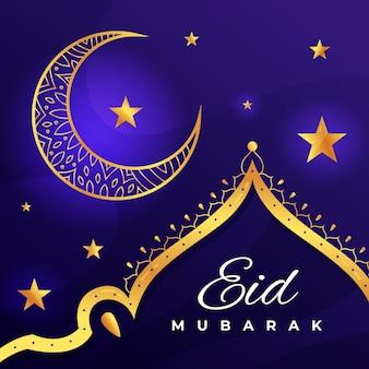 Diseño plano feliz eid mubarak luna dorada y estrellas