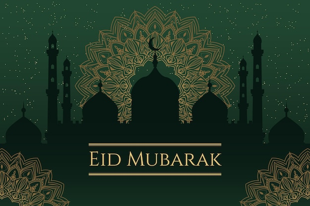 Diseño plano feliz eid mubarak mezquita en la noche