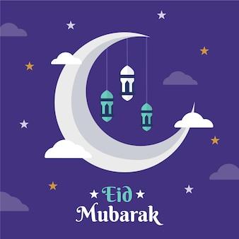 Diseño plano feliz eid mubarak noche estrellada