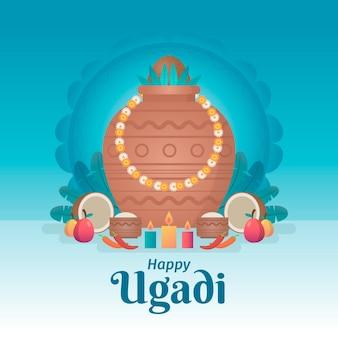 Diseño plano feliz evento ugadi