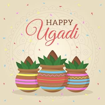 Diseño plano feliz festival de ugadi