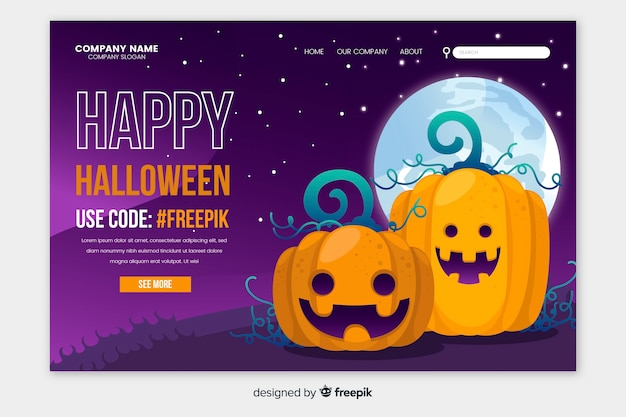 Diseño plano feliz página de inicio de halloween