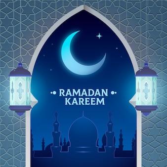 Diseño plano feliz ramadan kareem luna creciente
