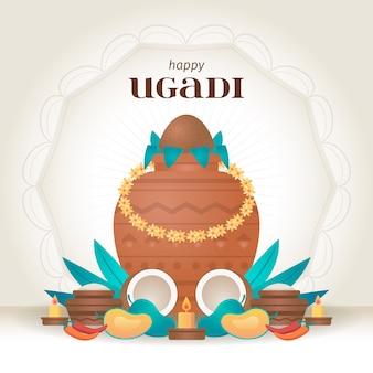 Diseño plano feliz ugadi