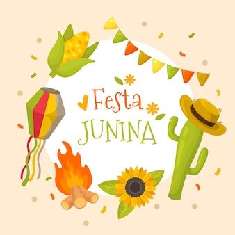 Diseño plano festa junina cactus con sombrero