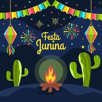 Diseño plano festa junina y cactus