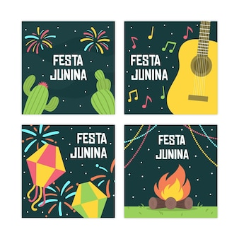 Diseño plano festa junina conjunto de tarjeta de plantilla