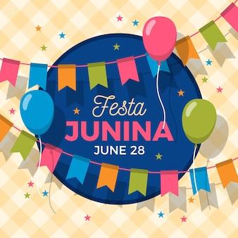 Diseño plano festa junina guirnaldas y globos