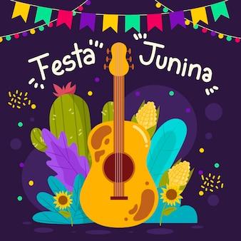 Diseño plano festa junina ilustración