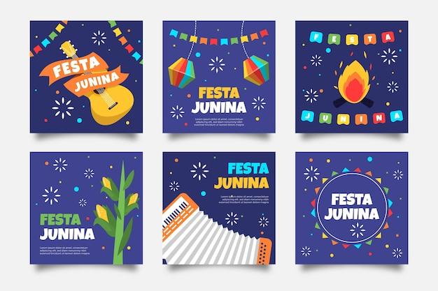 Diseño plano festa junina tarjeta guitarra y fogata