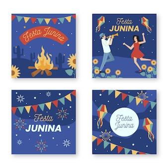 Diseño plano festa junina tarjetas set plantilla