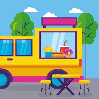 Diseño plano del festival de food trucks