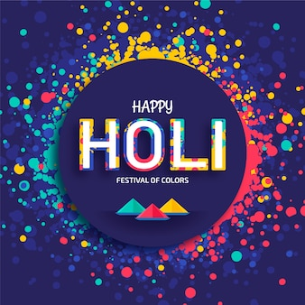 Diseño plano del festival holi con destellos y puntos coloridos.