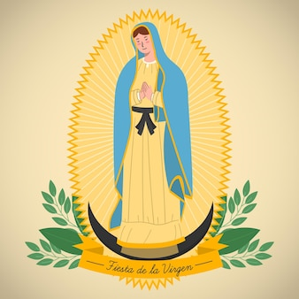 Diseño plano fiesta de la virgen background