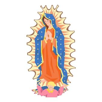 Diseño plano fiesta de la virgen evento ilustración