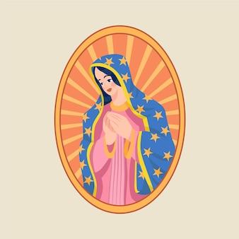 Diseño plano fiesta de la virgen ilustración