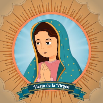 Diseño plano fiesta de la virgen ilustrada