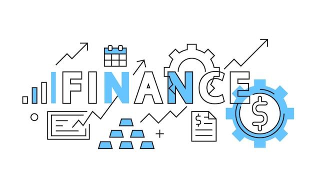 Diseño plano de finanzas en azul