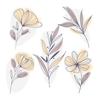 Diseño plano de flores y hojas lineales. vector gratuito