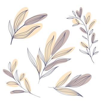 Diseño plano de flores y hojas lineales.