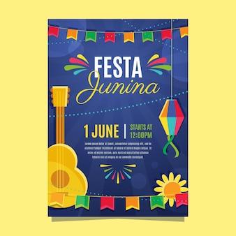 Diseño plano flyer festa junina