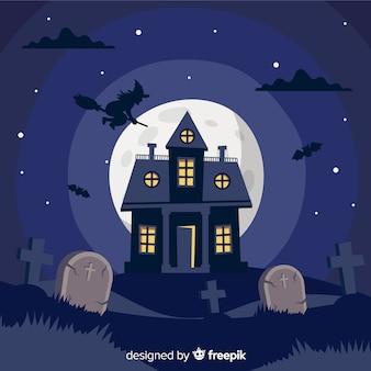 Diseño plano de fondo de casa embrujada