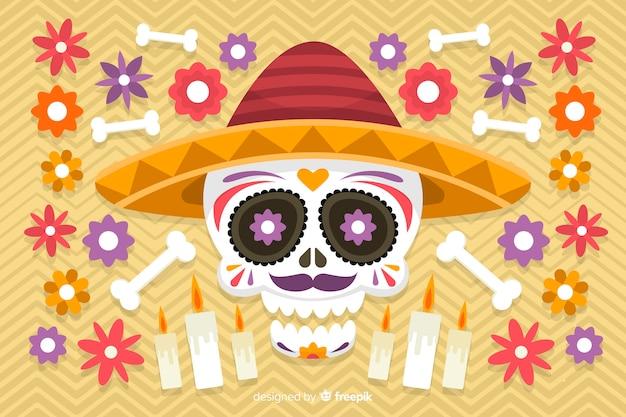Diseño plano de fondo colorido dia de muertos