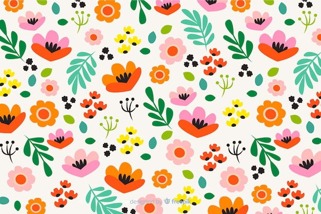Diseño plano del fondo colorido de las flores
