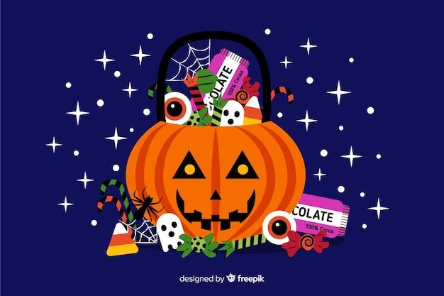 Diseño plano de fondo decorativo de halloween