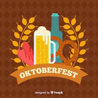 Diseño plano de fondo decorativo oktoberfest