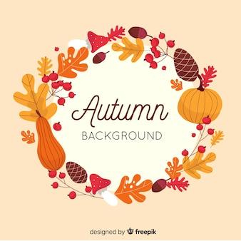 Diseño plano de fondo decorativo otoño