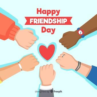 Diseño plano fondo del día de la amistad