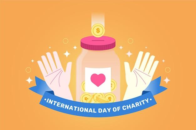 Diseño plano fondo día internacional de la caridad