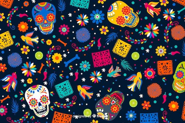 Diseño plano de fondo dia de muertos