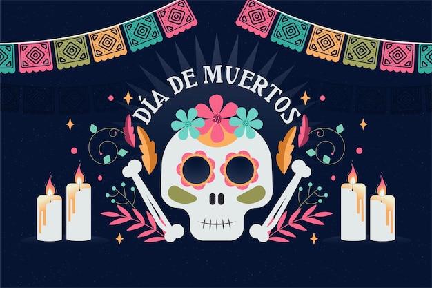 Diseño plano fondo día de muertos