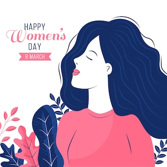 Diseño plano fondo del día de la mujer