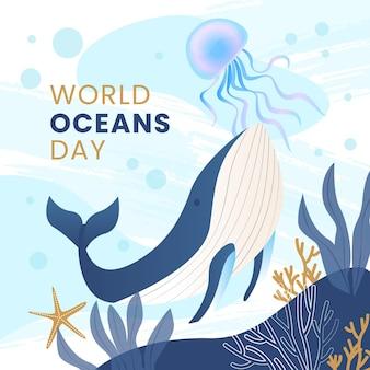 Diseño plano del fondo del día mundial de los océanos