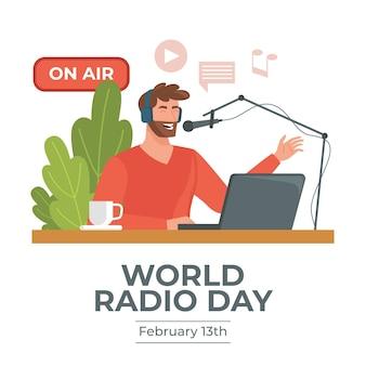 Diseño plano de fondo del día mundial de la radio con hombre