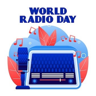 Diseño plano del fondo del día mundial de la radio