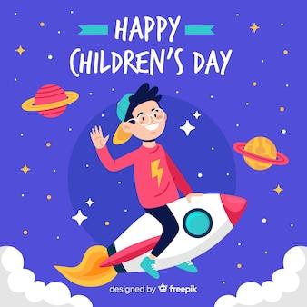 Diseño plano fondo del día del niño