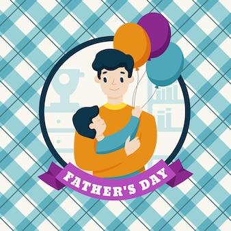 Diseño plano fondo del día del padre con padre e hijo