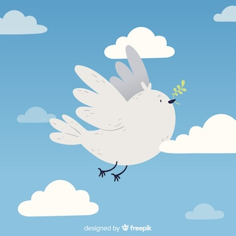 Diseño plano del fondo del día de la paz de la paloma