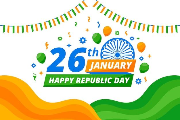 Diseño plano fondo del día de la república india